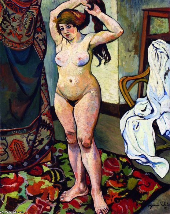 Gilbert, Nude fixa seu cabelo, 1920 por Suzanne Valadon (1865-1938, France) | Museu De Reproduções De Arte Suzanne Valadon | WahooArt.com