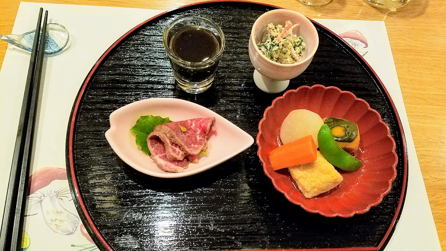 Dinner at Chef Naoko's Shizuku. I ordered the kaiseki, six courses that includes a catch of the day wild sashimi cousre and choice of main dish with rice and miso soup. This is from the second course, which offered four small side dishes height=