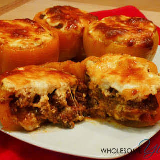 Beef Lasagna Stuffed Peppers (Gluten-Free, Low Carb).