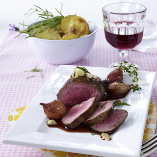 Lamb Steak with Red Wine Shallot Sauce.