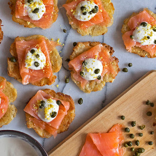 Smoked Salmon Bites w/ Creme Fraise on Crisps {Grain-Free, Gluten-Free and Paleo}