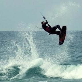 Para surfing at Portstewart by Marc Lawrence - Sports & Fitness Watersports ( parasurfing, surfing, water sports, portstewart, northern ireland )