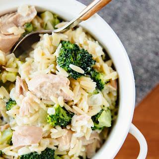 Stovetop Tuna Orzo Casserole with Broccoli.