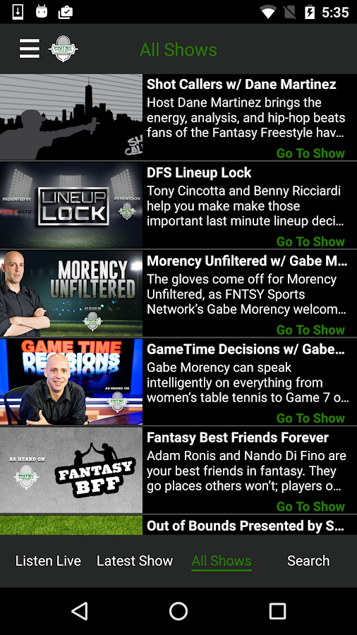 Fantasy Sports Network Radio- screenshot