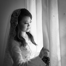 Bride waiting for the groom by Sifer SifersDefinition - Wedding Bride ( wedding photography, lighting, wedding gown, black and white, bride; )