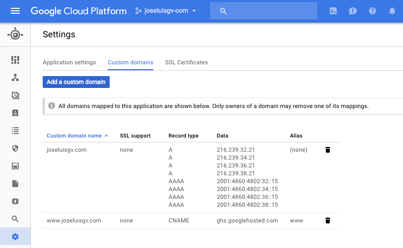 Custom domains en Google appEngine