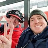 Matt and Hugo on the Swiss train in Zermatt, Valais, Switzerland