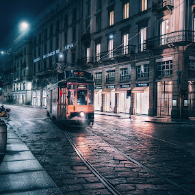 Milan Tram by Goran Dzh - City,  Street & Park  Night ( mood, city, night, milano, nikonshooter, night lights, streetphotography, milan, tamron 15-30, tamron, nikon, street, tram, night scene, italy, street photography, train, night photography,  )