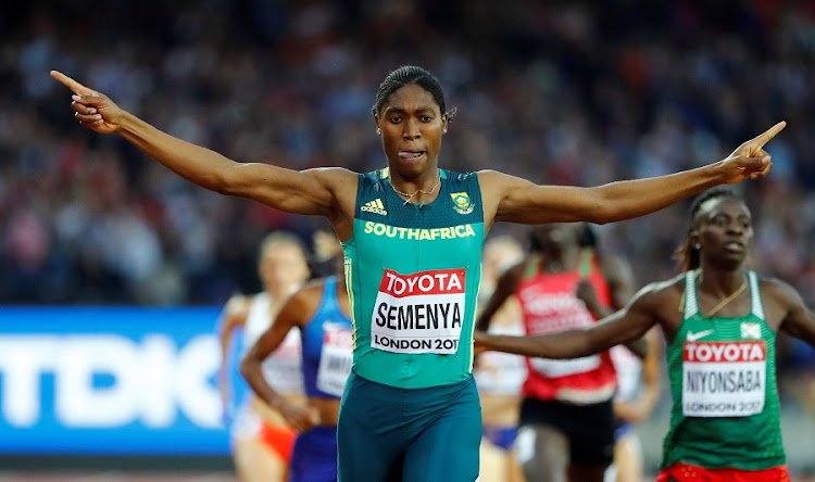 Caster Semenya reacts after winning the race. Picture: REUTERS/LUCY NICHOLSON