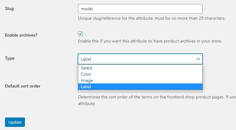 WooCommerce label attribute