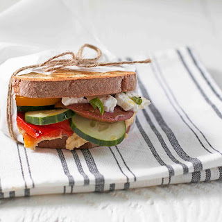 Garden Sandwich with Hummus, Vegetables, and Feta.