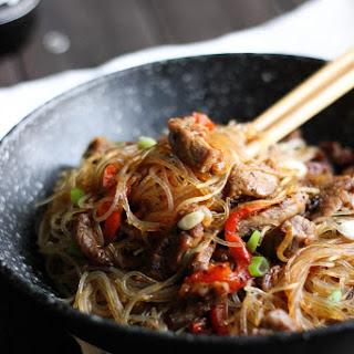 Clear Noodles Pork Stir Fry.