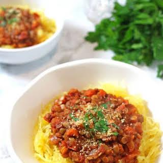 Lentil Bolognese with Spaghetti Squash.