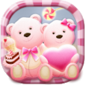 Cute Bear love  honey with Pink hearts DIY Theme icon