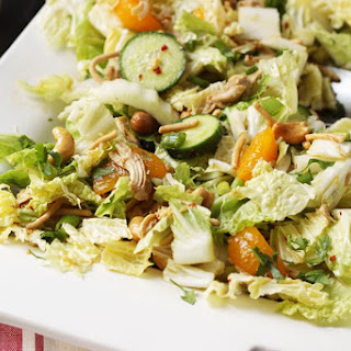 Asian Cabbage Salad with Chicken and Mandarin Oranges.