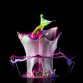 Liquid Flower by Markus Reugels - Abstract Water Drops & Splashes ( cutout, highspeed, creative, split second, green, liquid art, high speed, sound explosion, liquid, red, fluid, blue, pink, cut out, black, color sculpture )