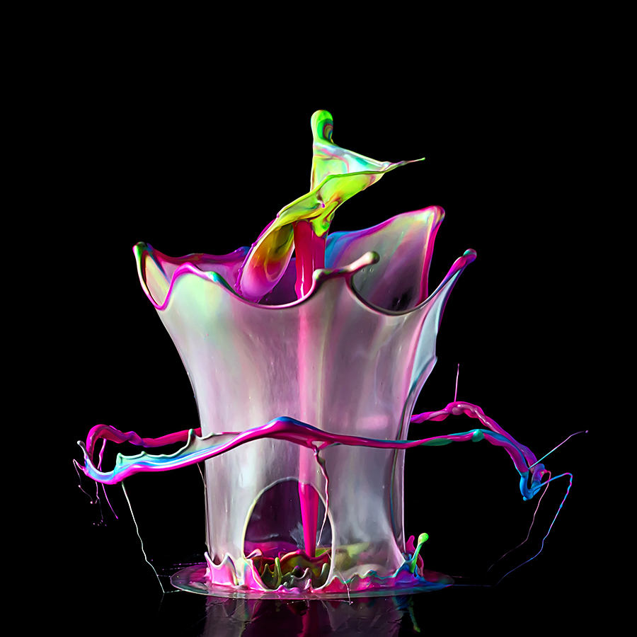 Liquid Flower by Markus Reugels - Abstract Water Drops & Splashes ( cutout, highspeed, creative, split second, green, liquid art, high speed, sound explosion, liquid, red, fluid, blue, pink, cut out, black, color sculpture )