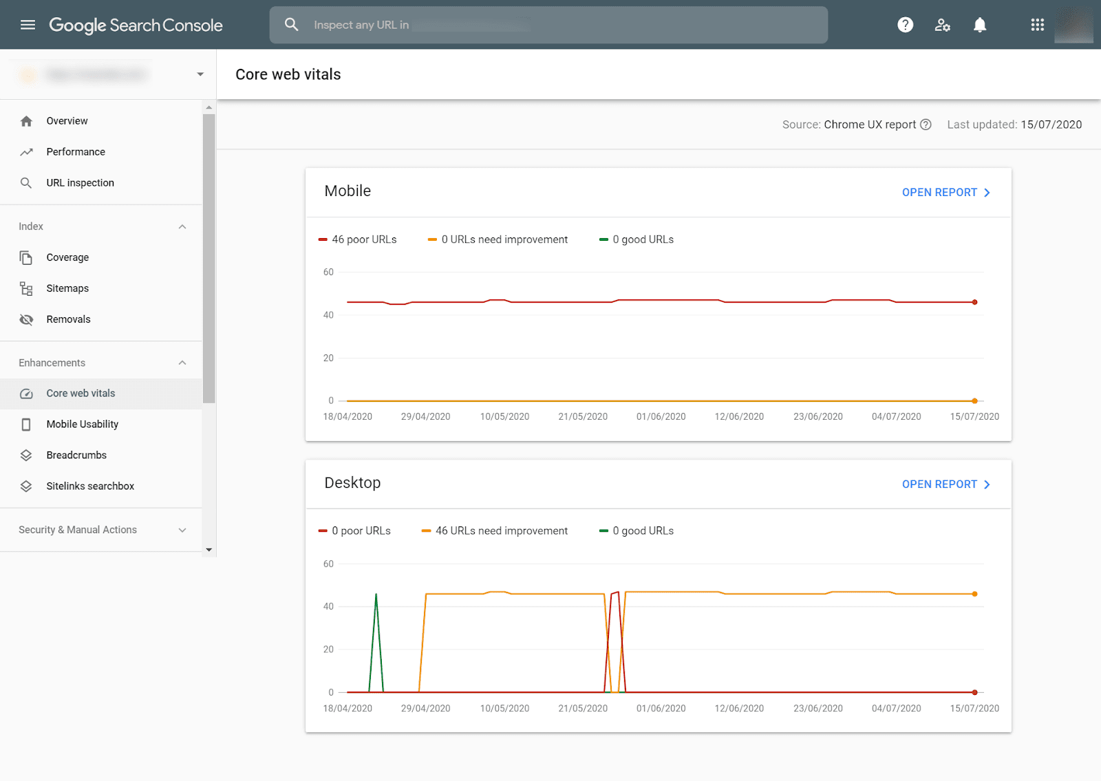 Tampilan data Core Web Vitals di Google Search Console