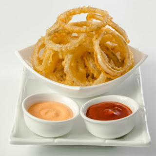 Buttermilk Onion Rings With Grilled Tomato Aioli Dipping Sauce.