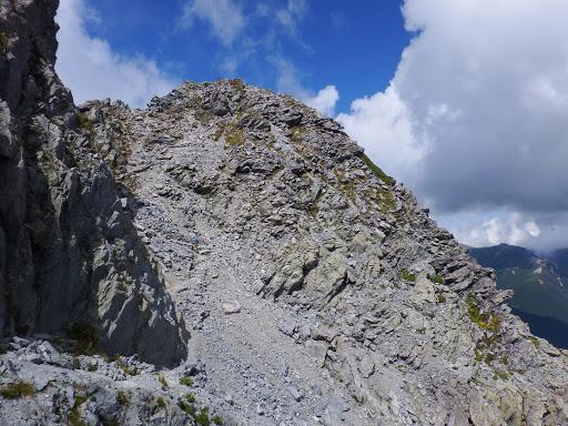 北穂高岳への登りに