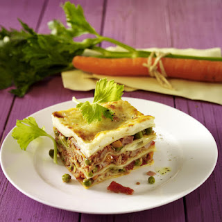 Meat Lasagna with Peas