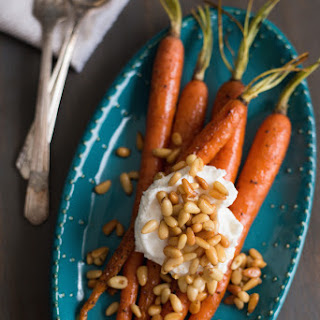 Roasted Glazed Carrots with Greek Yogurt & Buttered Pine Nuts