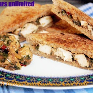 Tofu Stir Fried with Basil and Chili - Stuffed to make a Vegan Sandwich