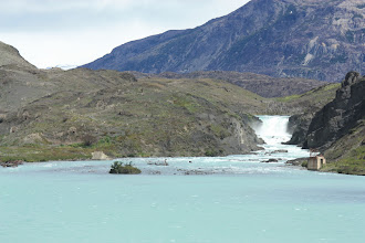 Photo: Salto Grande (Big Jump) waterfall from the boat on Lago Pehoe