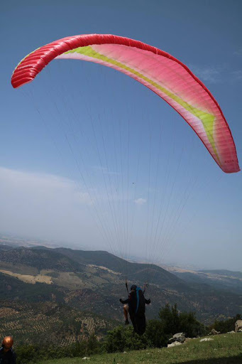 Taking off with a paraglider