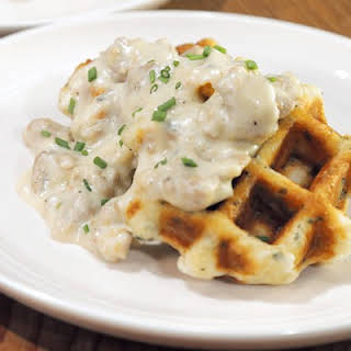 Biscuit Waffles with Sausage Gravy.