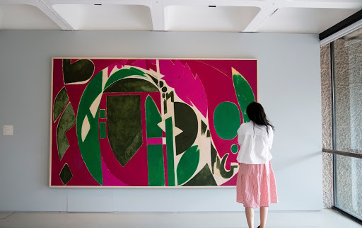 Installation view of Lee Krasner: Living Colour at the Barbican Art Gallery, London featuring Palingenesis, 1971