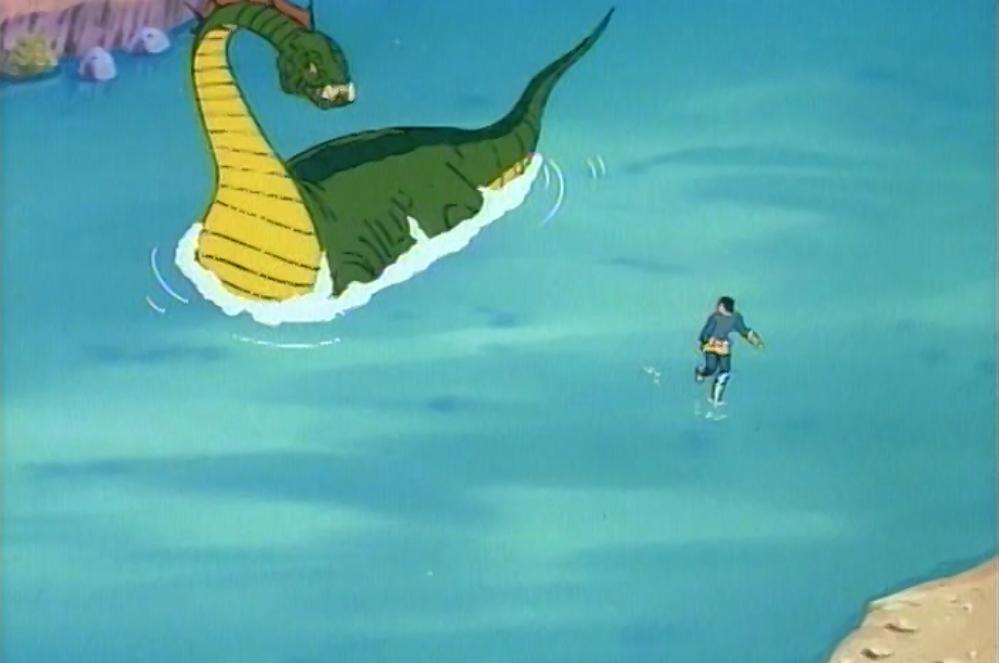 Eric running from a dinosaur