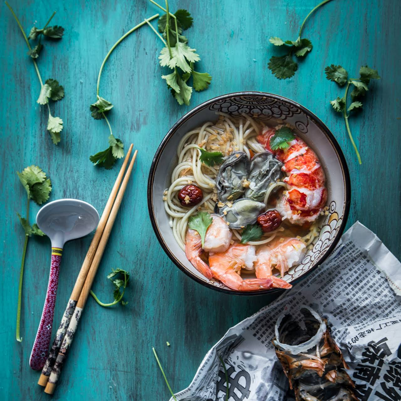 Asian Seafood Noodle in Ginger Garlic Broth