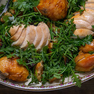 Roast Chicken with Bread and Arugula Salad