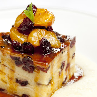 White Chocolate And Cranberry Bread And Butter Pudding.