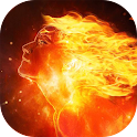 Girl with fiery hair live wp icon