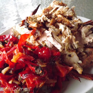Roasted Chicken with Orange Basil Butter Rub and Oven Roasted Red Peppers