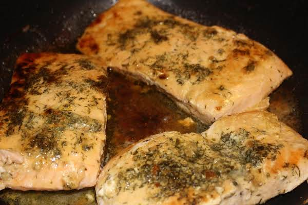 Salmon Steaks With Lemon Dijon & Dill Glaze Recipe