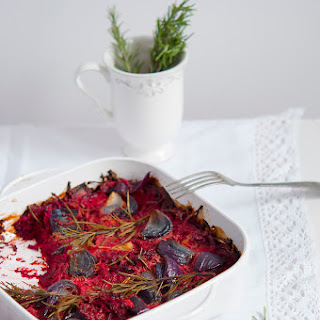 Roasted Beets And Red Onions With A Touch Of Rosemary.