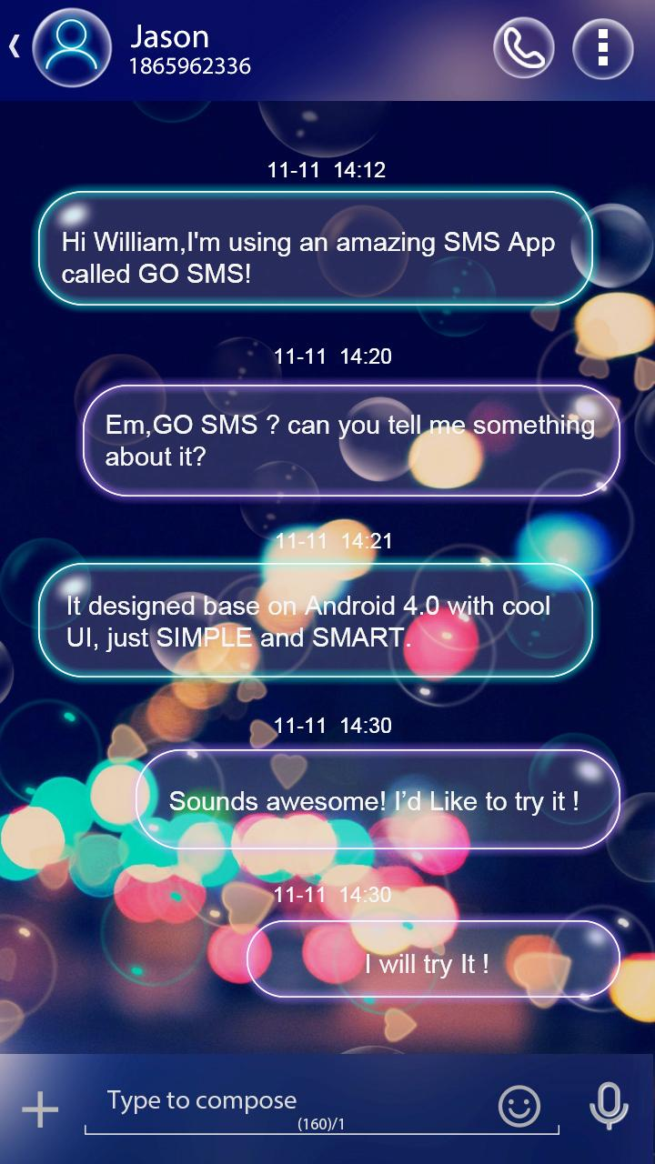 Скриншот GO SMS COLOR BUBBLE THEME