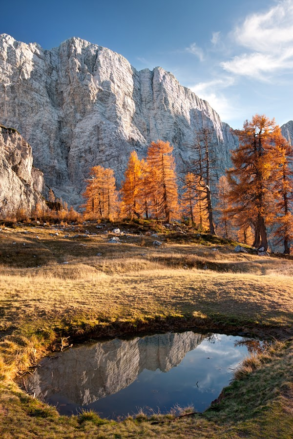 Autumn evening in mountains by Ziga Camernik - Landscapes Mountains & Hills ( limestone, reflection, mountain, peak, rocky, rock, jalovec, landscape, hiking, alpine, sky, nature, autumn, julian, larch, alps, cliff, lake, scenic, sleme, mojstrovka, sunset, slovenia, meadow, scenery, summit, view,  )