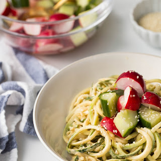 Almond-Sesame Zucchini Noodles with Quick Pickled Veggies.