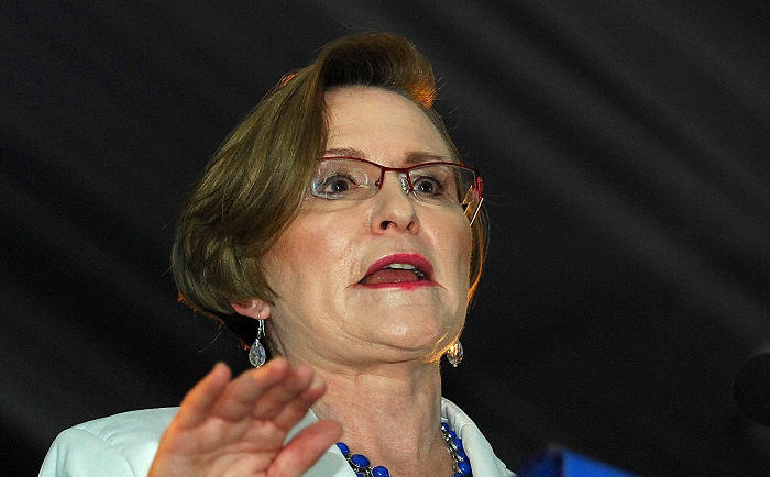 Democratic Alliance leader Helen Zille addresses delegates at the party's Gauteng provincial conference in Boksburg on Saturday.  Picture: PUXLEY MAKGATHO