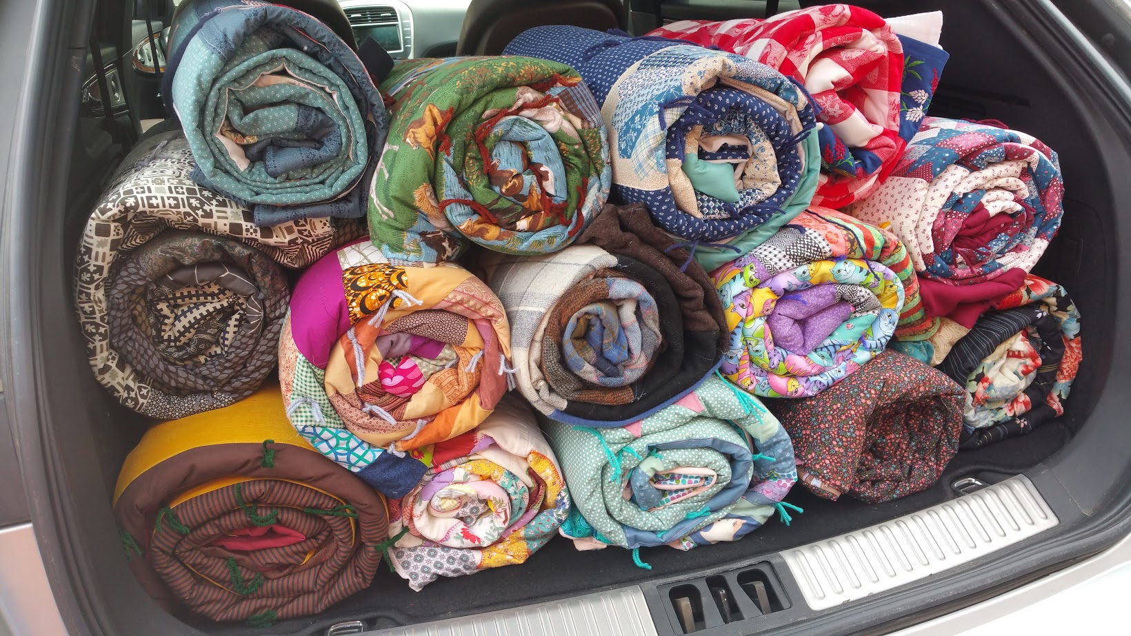 Quilts loaded for delivery to the Lutheran World Relief warehouse in St. Paul.