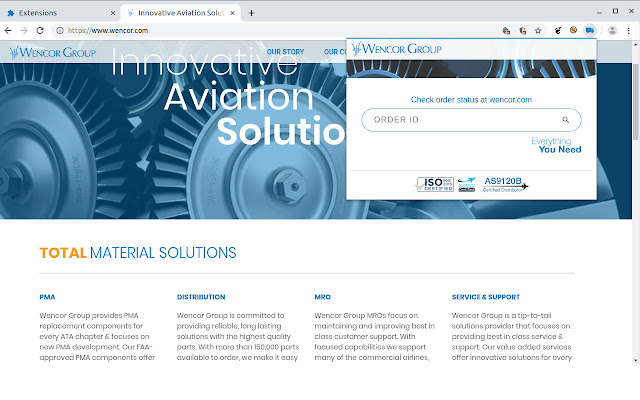 Wencor.com order status check button