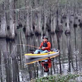 Fly fishing in a kayak by Sandra Barnes - Novices Only Flowers & Plants ( fishing, kayak, water, landscape, boat )