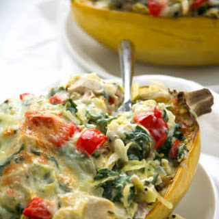 Greek Yogurt Spinach & Artichoke Dip Stuffed Spaghetti Squash with Chicken