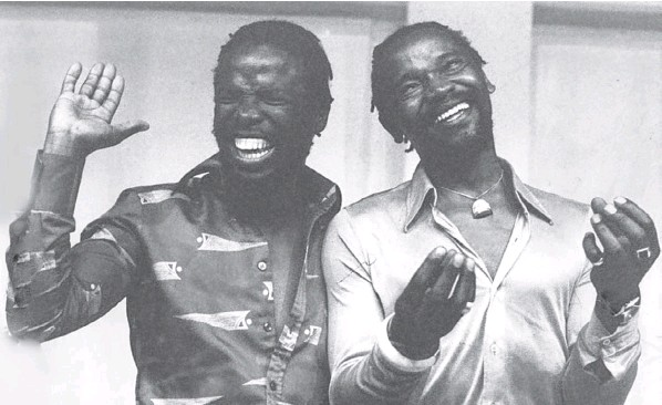 John Kani, left, and Winston Ntshona in rehearsal for 'Sizwe Banzi is Dead' – devised by Kani, Ntshona and Athol Fugard – at the Market Theatre in Johannesburg in 1978