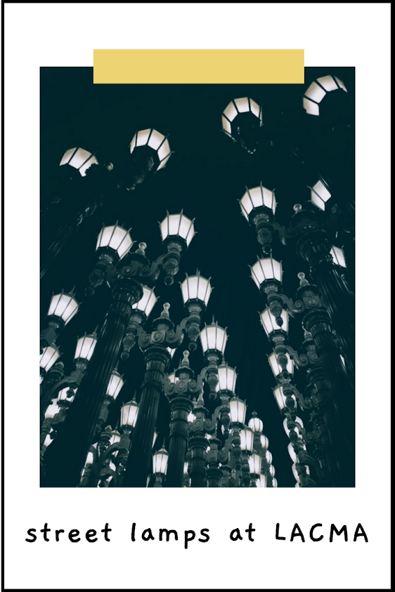 The Urban Light streetlamps exhibit at the LACMA entrance