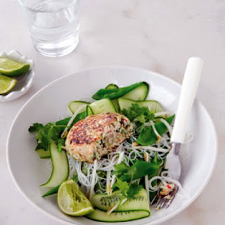 Asian Chicken Patties with Warm Noodle Salad